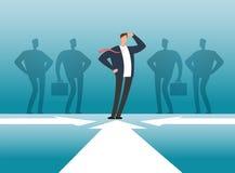 Geschäftsmann vor Leutegruppenschatten Angestelltmanagement, -teamwork und -führung vector Konzept lizenzfreie abbildung