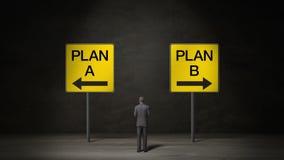 Geschäftsmann wählen ` Plan A ` Pfeil oder ` Plan B ` Pfeil entschiedene Weisen trifft Entscheidung vektor abbildung