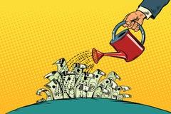 Geschäftsmann wässerte Gelddollar von einer Gießkanne stock abbildung