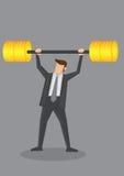 Geschäftsmann Weight Lifting mit goldener Barbell-Begriffsvektor Lizenzfreie Stockfotos