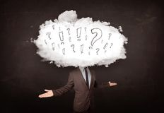 Geschäftsmann-Wolkenkopf mit Frage Lizenzfreie Stockfotografie