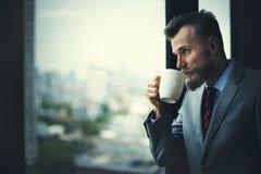Geschäftsmann-Working Determine Workspace-Lebensstil-Konzept stockbild
