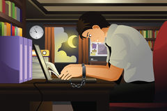 Geschäftsmann Working mit seinen Händen gebunden am Laptop Lizenzfreies Stockfoto