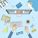 Geschäftsmann-Workplace Desk Hands-Arbeitslaptop-Geschäftsmann-Spitzenwinkel über Ansicht-Büro Lizenzfreie Stockfotografie