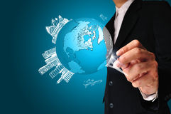 Geschäftsmann-Zeichnungserdkugel Lizenzfreie Stockfotos