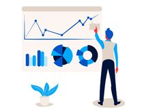 Geschäftsmann zeigt auf Bericht infographics auf dem Bürodiagrammbrettdiagramm und -diagramm vektor abbildung