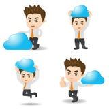 Geschäftsmann zeigt Komputertechnologie der Wolke lizenzfreie abbildung