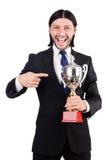 Geschäftsmann zugesprochen mit prize Schale Stockbild
