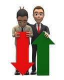 Geschäftsmann zwei mit rotem und grünem Pfeil stockfotografie