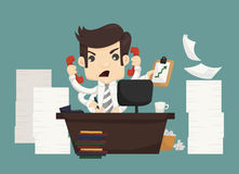 Geschäftsmannarbeit hart und beschäftigt stock abbildung