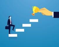 Geschäftsmannaufstiegs-Erfolgsleiter Stockbild