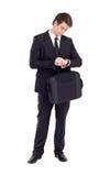 Geschäftsmannaufwartung Stockfoto