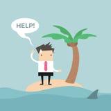 Geschäftsmannbedarfshilfe auf der kleinen Insel Lizenzfreies Stockfoto