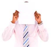 Geschäftsmannbedeckung mit Fahne Lizenzfreie Stockfotografie