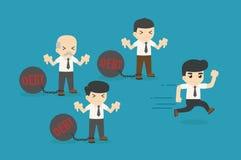 Geschäftsmannbelastung mit Schuld und Geschäftsmannfinanzfreiheit Stockbild