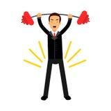 Geschäftsmanncharakter anhebender Barbell herauf die Unkosten, die sein Ziel, Geschäftsherausforderung und Erfolg Illustration er lizenzfreie abbildung