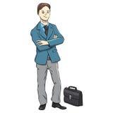 Geschäftsmanncharakter auf einem weißen Hintergrund stock abbildung