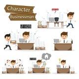 Geschäftsmanncharakter auf gesetzter Vektorillustration des Büroangestellten Stockfoto