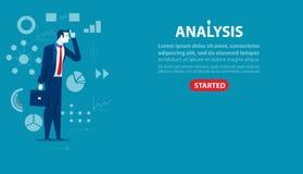 Geschäftsmanncharakter eine Analyse Konzeptgeschäftsillustration stock abbildung