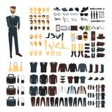 Geschäftsmanncharakter mit Klagensatz Körperteilsammlung, stilvolle Kleidung, Zusätze, Gesichter Vordere und hintere Ansichten vo stockbild