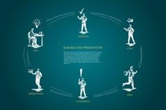 Geschäftsmanndarstellung - Idee, Darstellung, Vertrauen, Eile, Punkt, Zustimmungsvektor-Konzeptsatz lizenzfreie abbildung