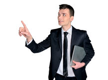 Geschäftsmanndrücken Lizenzfreie Stockbilder