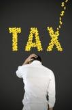 Geschäftsmanndruck über Steuer. Stockfoto