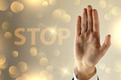 Geschäftsmannendhandzeichen stockfoto