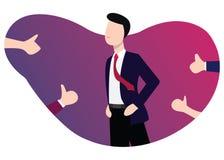 Geschäftsmannerfolg Anerkennung, zu respektieren von anderen Leuten mit stolzem erhalten lizenzfreie stockbilder