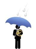 Geschäftsmanneurogeldsafe unter Regenschirm Stockfotos