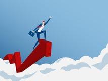 Geschäftsmannfahrwachstums-Pfeildiagramm auf Wolke erhalten viel Geld Investition finanziell und Erfolgskonzept vektor abbildung