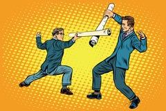Geschäftsmannfechtenwettbewerbsideen stock abbildung