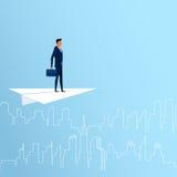 Geschäftsmannfliegen auf flachem suchendem Erfolg des Papiers, Gelegenheiten, zukünftiges Geschäft neigt Geschäftsfrauhand, die a vektor abbildung