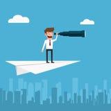 Geschäftsmannfliegen auf Papierflugzeug unter Verwendung des Teleskops, das nach Erfolg, Gelegenheiten, zukünftiges Geschäft such stock abbildung