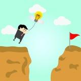 Geschäftsmannfliegen in einer Luft geht zum Erfolg Lizenzfreies Stockfoto