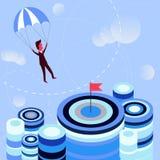 Geschäftsmannfliegenfallschirm zum Ziel stock abbildung