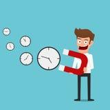 Geschäftsmanngebrauchsmagnet zieht Zeit an Brauchen Sie und mehr Zeit erhalten Lizenzfreie Stockfotografie