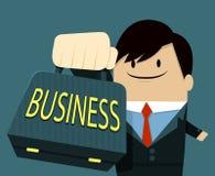 Geschäftsmanngesichtslächeln und darstellen Tasche-Text Lizenzfreies Stockbild