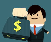 Geschäftsmanngesichtslächeln und Zeigen des Tasche-Dollar-Zeichens Lizenzfreies Stockbild