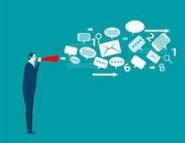 Geschäftsmanngespräch emotional in der Papiertrompete Konzeptgeschäft Stockbild