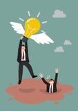 Geschäftsmanngriff-Fliegenglühlampe erhalten weg von Treibsand Lizenzfreie Stockfotos