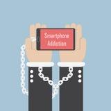 Geschäftsmannhände mit Smartphone und Fessel, Smartphone-Süchtiger lizenzfreie abbildung