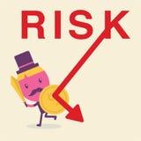 Geschäftsmannhalt zum Risiko Stockfoto