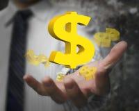 Geschäftsmannhand, die 3D goldene Dollarzeichen zeigt Stockbild