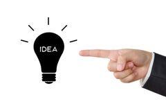 Geschäftsmannhand, die Ideenwort auf Birnenikone auf weißem backgr zeigt Lizenzfreies Stockbild