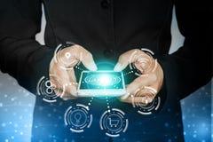 Geschäftsmannhand, die intelligentes Telefon mit Ikone der Technologieverbindung hält stockfoto