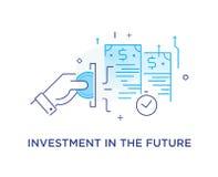 Geschäftsmannhand macht einen Beitrag und erhält Interesse Weise zum Erfolg, Wechselkurs Die goldene Taste oder Erreichen für den lizenzfreie abbildung