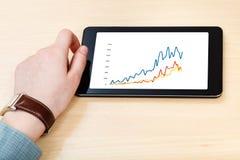 Geschäftsmannhand und -Tablet-PC mit Geschäftsdiagramm Stockfotos