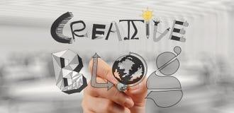 Geschäftsmannhand zeichnet kreatives Blog Lizenzfreie Stockfotos