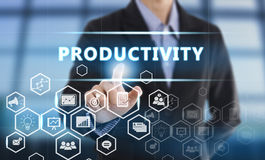GeschäftsmannHandpressen-Knopf Produktivität vektor abbildung